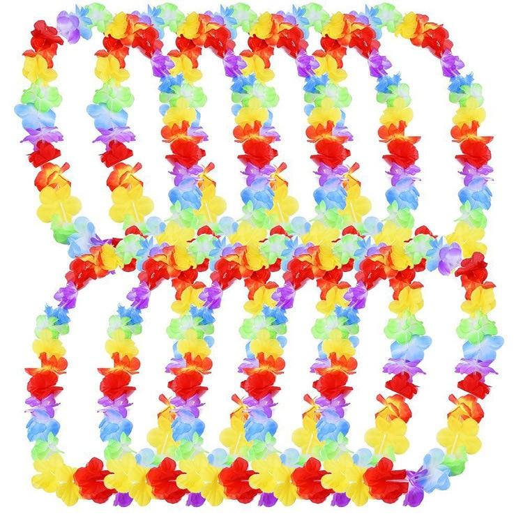 10pcs Hawaii Christmas Wreath Door Decoration Hawaiian Party Artificial Flower Garland Necklace Luau Torpil