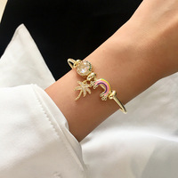 New fantasy neon summer glazed stone beaded openings for women's bracelets party fashion jewelry for women