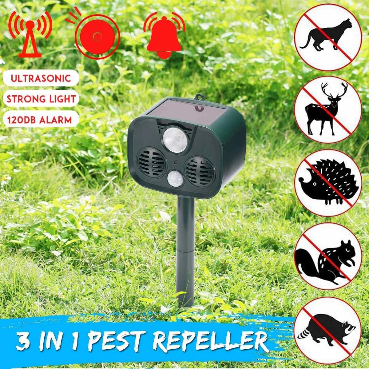 2018new solar ultrasonic bird repeller for garden led flash mole ultrasound dog control f ox rodent rats pest animal 120db alert
