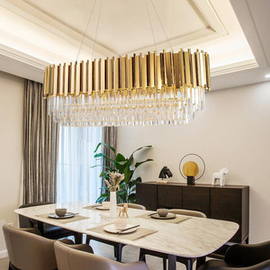 Image 2 - Manggic Modern Crystal Lamp Chandelier For Living Oval Luxury Gold Round Stainless Steel Line Chandeliers Lighting