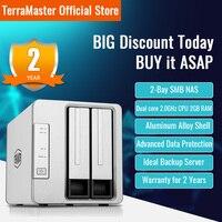 TerraMaster-Almacenamiento en la nube de 2 puertos, F2-221 NAS, Intel Dual Core, 2,0 GHz, Plex, servidor multimedia, almacenamiento de red (sin disco)