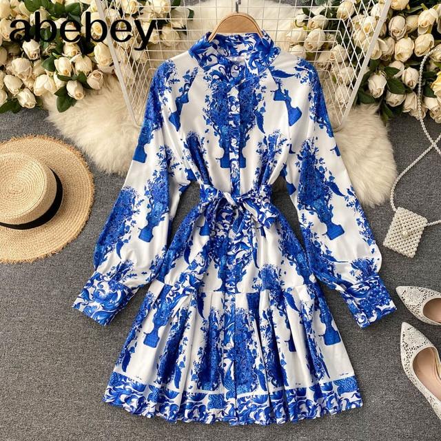 Women Court Wind Print Dress Retro Stand Collar Puff Sleeve Button Dresses Autumn Korean A-line Streetwear Short Dress 1