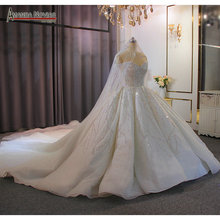 Di lusso della principessa abito di sfera abito da sposa pesante che borda con un pieno di bordare lungo velo 2020