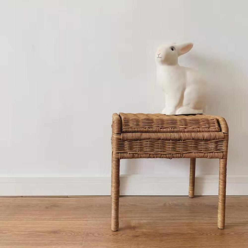 Stylish Handwoven Rattan Storage Chair Children's Storage Stool Rattan Seat With Hidden Storage Compartment For Kids Toys Gifts
