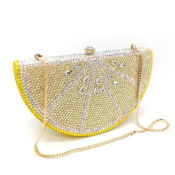 Bolso de mano de lujo incrustado a mano con diseño de abeja en mosca, bolso de mano con cristales de limón amarillo, bolso de noche de estilo americano, cartera de mano con personalidad