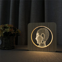 Warm White Buddha Face 3D USB LED Arylic ABS Lamp Table Light Switch Control Carving Lamp for Children's Room Decoration