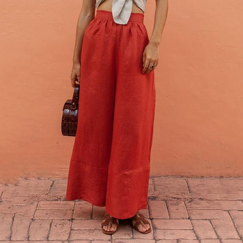 Pants   For Women Autumn Fashion Casual Orange High Waist Linen Pockets Loose   Pants   Female   Wide     Leg     Pants   Ankle-Length Trousers!