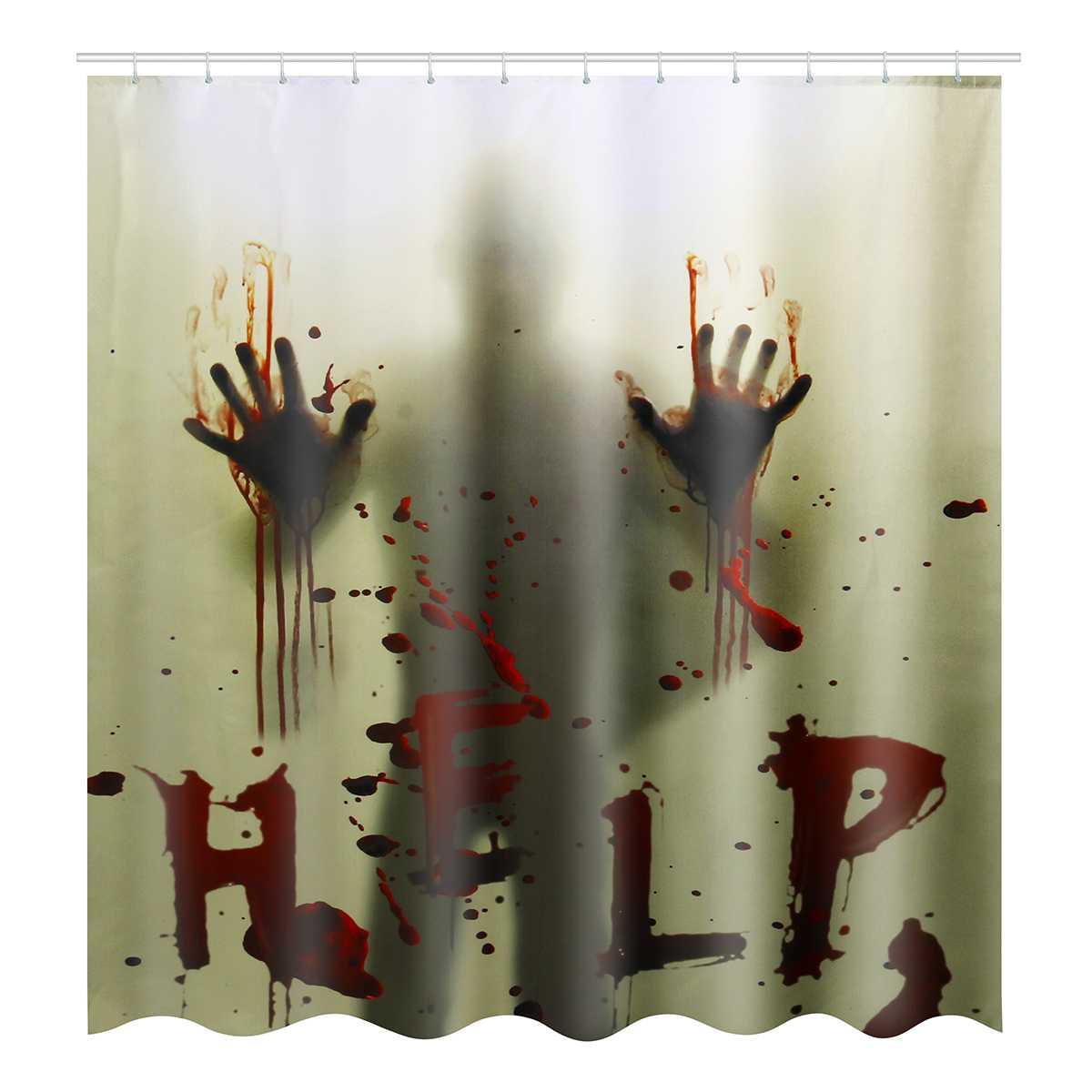 180x180cm Halloween Shower Curtain Fabric Bathroom Waterproof 12 Hooks /& Mat