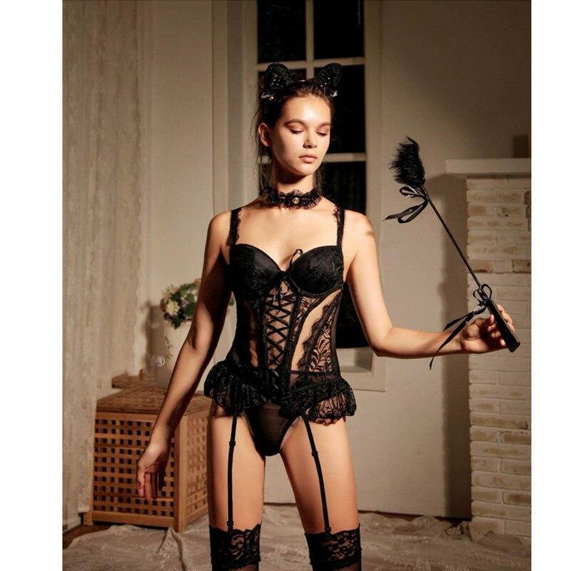 Женское нижнее белье Minifaceminigirl, прозрачный кружевной корсет, сексуальное нижнее белье черного цвета, бюстье пуш-ап