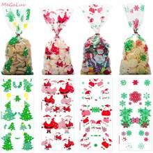 Saco plástico auto-adesivo 50 peças, embalagem biscoito sacos de natal celofane festa sacos tratar doces saco de festa festival presente