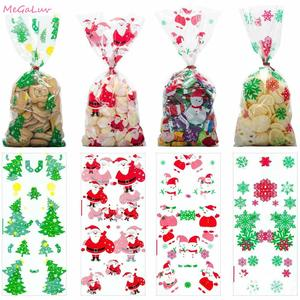 50Pcs Xmas Self-adhesive Cookie Packing Plastic Bags Christmas Cellophane Party Bags Treat Candy Bag Festival Party Favor Gift