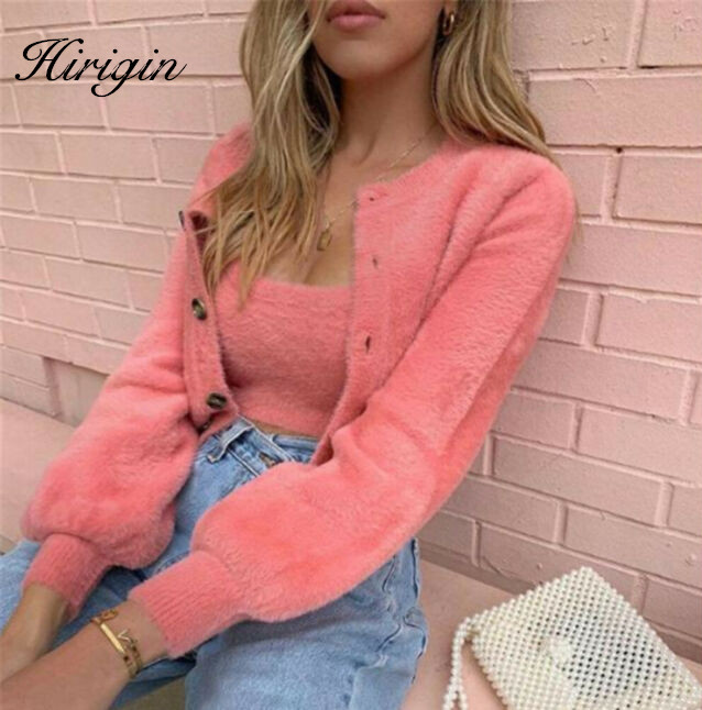 Women Two Piece Matching Sets Warm Fluffy Long Sleeve Coats & Tank Top Sets Casual Spring Fall Warm Suit
