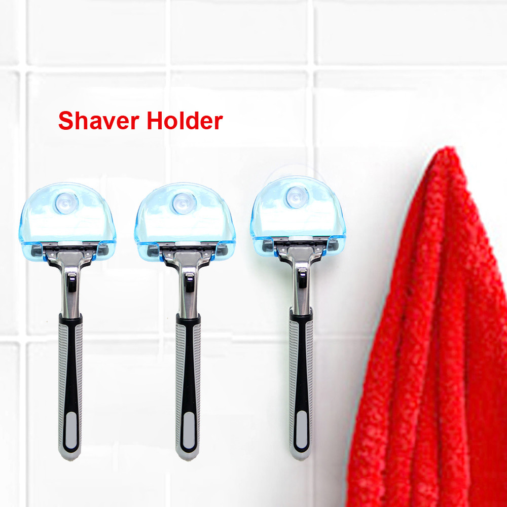 1Pcs Clear Blue Plastic Super Suction Cup Razor Rack Bathroom Razor Holder Suction Cup Shaver Suction Cup Shaving Razor