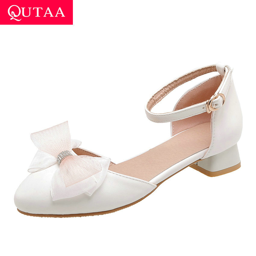 QUTAA 2020 Butterfly-Knot Pointed Toe Sweet Women Pumps PU Leather Ladies Sandals Square Heel Buckle Women Shoes Big Size 34-43