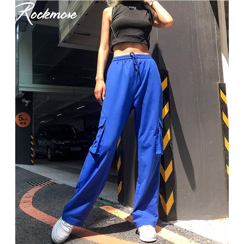 Rockmore Streetwear Sweatpants Joggers   Pants   Women Harajuku Pockets Korean Trousers Plus Size Winter High Waist   Wide     Leg     Pants