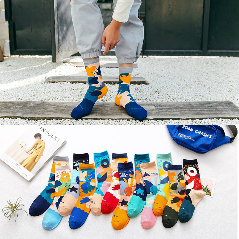 1Pair Male Crew Socks Men Casual Socks Cotton Fashion Creative Sea Underwater World Funny Cute Male Socks Mid Length Unisex Sock
