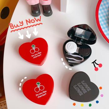 1 sztuk Cherry Love kontakt futerał na okulary z lustrem moda przenośne kolorowe szkła kontaktowe pojemnik piękne oko kontakt Box posiadacze tanie i dobre opinie Unisex SQUARE WWA606 List