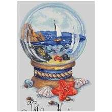Прибрежный пейзаж в хрустальном шарике вышивка крестиком 11ct