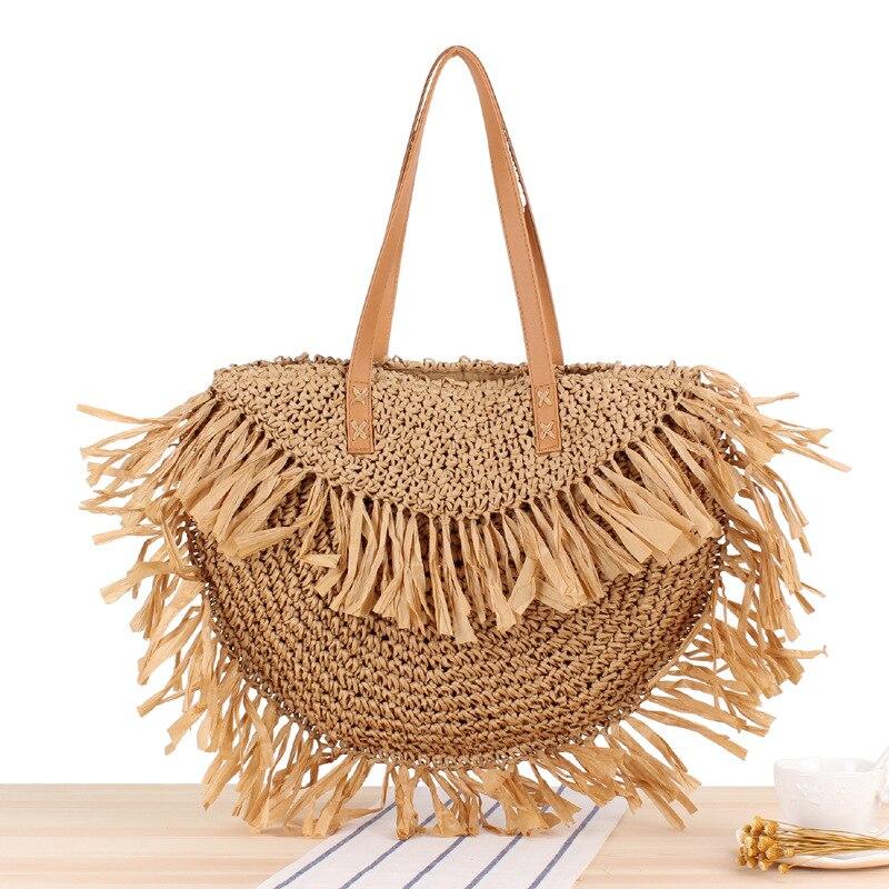 Novo semi redondo borla único sacos de ombro saco de palha borla papel tecido baga praia bolsa moda feminina