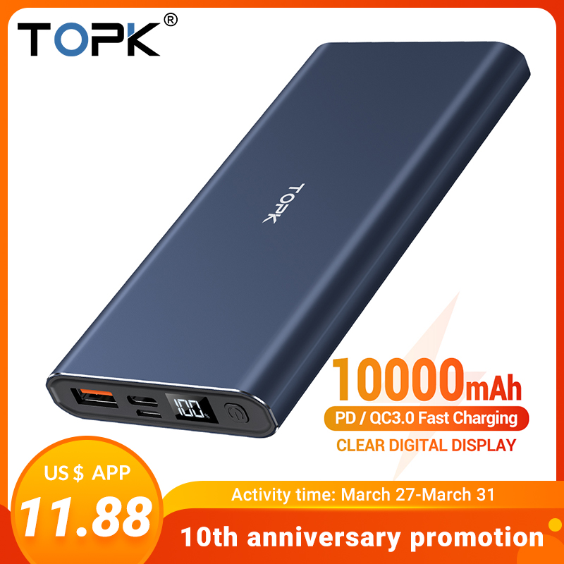 TOPK 10000mAh Power Bank PD QC3.0 Fast Charging Portable USB C Led Display External Charger Battery For Xiaomi Mi 9 8 IPhone