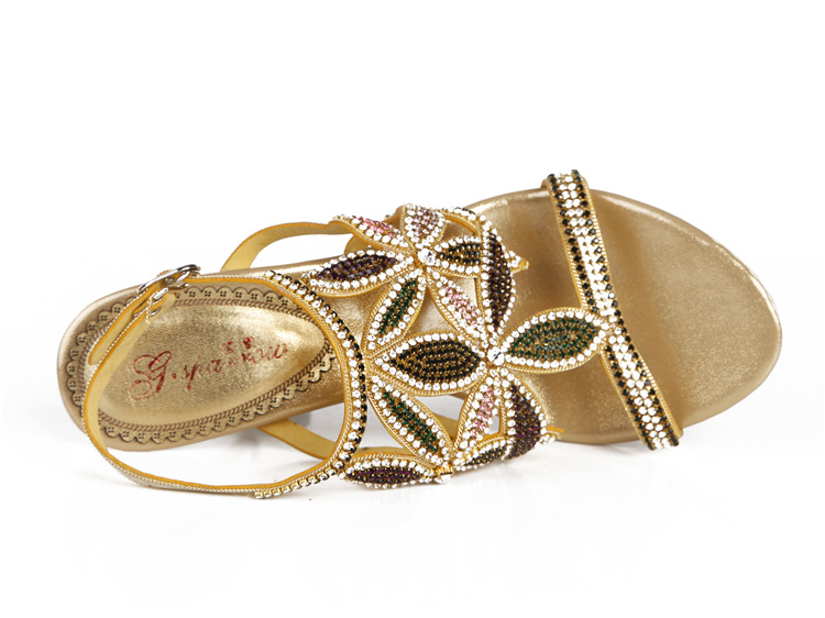 G-sparrow New Large Size Diamond Gold Crystal Wedding High Heeled Sandals Rhinestone Thick Heel Elegant Shoes16