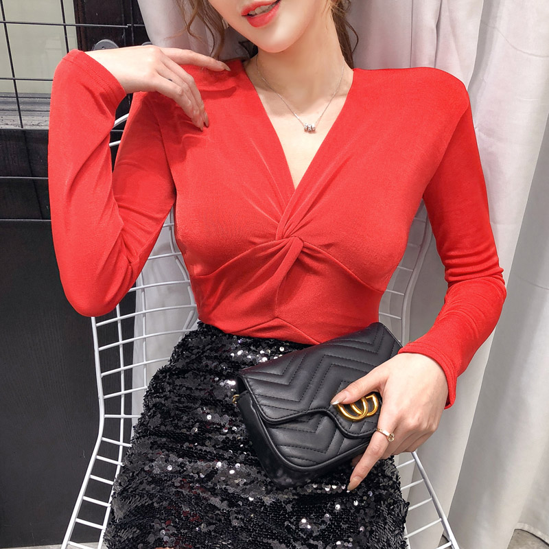 Fashion Full Sleeve Blouse Women Spring V-Neck Blusas Womens Tops And Blouses Red Navy Blue Yellow Black Raspberry Purple 3311