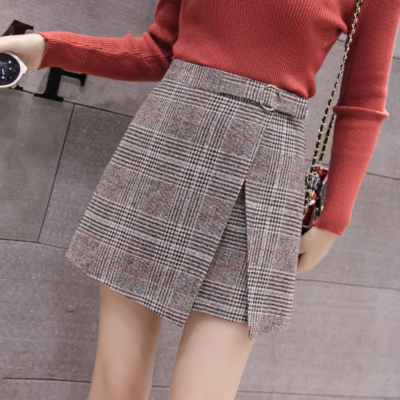 Autumn Winter Irregular Skirt Women 2019 High Waist Plaid Women Plus Size Skirts Falda Mujer A-line Skirts Womens For Spring
