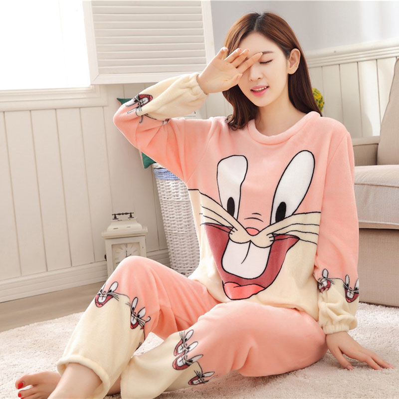Women Pajamas Set For Autumn cute cartoon pink Women Clothes Sleepwear Nightgown For Women Long Sleeve And Pants Hot Sale pijama 52