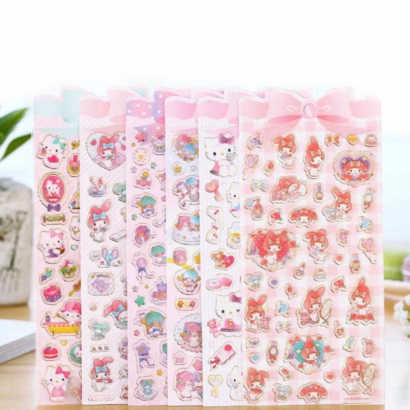 1 Sheet Lovely Golden Foil Melody Twin Star Stickers DIY Stick Label PVC Phone Hand Account Decor Sticker Toys For Kids Gift