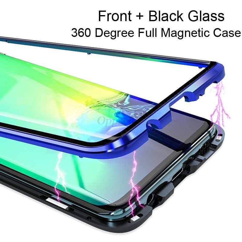 360 Двусторонняя Стекло Магнитный чехол для samsung Galaxy S9 S8 S10 Plus Note 9 8 A30 A7 A9 металлический закаленное стекло с магнитом Capinhas