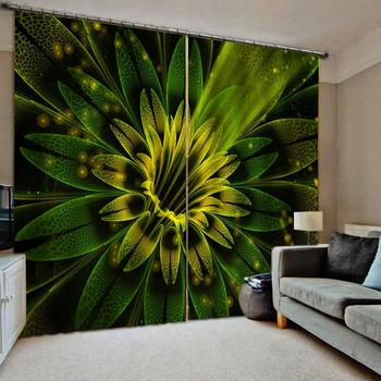 green curtains flower 3D Blackout Curtains For Living room Bedding room Drapes Cotinas para sala Decoration curtains