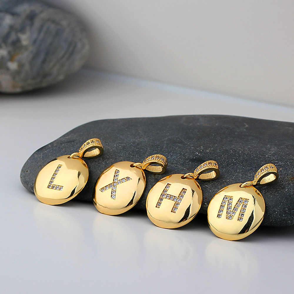 Di modo Iniziale 26 Lettera Collana In Oro di Fascino Della Catena di Nome Collane Pendenti Con Gemme E Perle di Rame CZ Collana di Dichiarazione Dei Monili Per Le Donne Ragazze