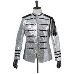 Casual Mens Suit Epaulettes Multicolor Sequins Slim Military Uniform Cosplay Fashion Ball Club Party Retro Style Suit Jacket