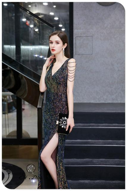 S.T.DES Evening Dress 2020 New Arrival colorful Beading Mermaid V-Neck colorful Sleeveless Floor Length Party Dress Dinner Gowns 2