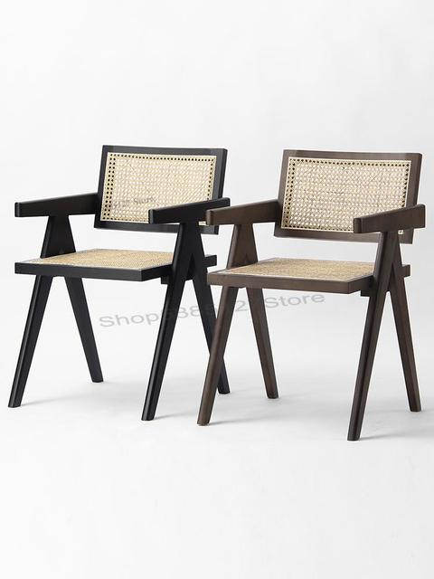 Solid Wood Dining Chair Rattan Nordic Chair  4