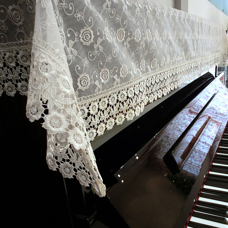 Proud Rose Lace Piano Cover Pastoral Piano Towel Dust Cover 90*180cm Embroidery Piano Half Cover Cloth Upright Piano Cover