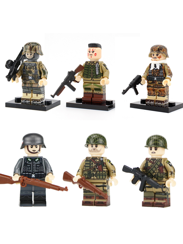 WW2 Military Army Soldier Figures Building Blocks Army Soldier M1 Sunshade Net Helmet Weapon Accessories Bricks Toys For Childre