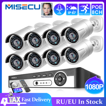 MISECU H.265 8CH 1080P HDMI POE NVR Kit CCTV Security System 2.0MP IR Outdoor Audio Record IP Camera P2P Video Surveillance Set techage h 265 8ch 2mp poe security camera system 1080p poe nvr kit p2p cctv video surveillance outdoor audio record ip camera