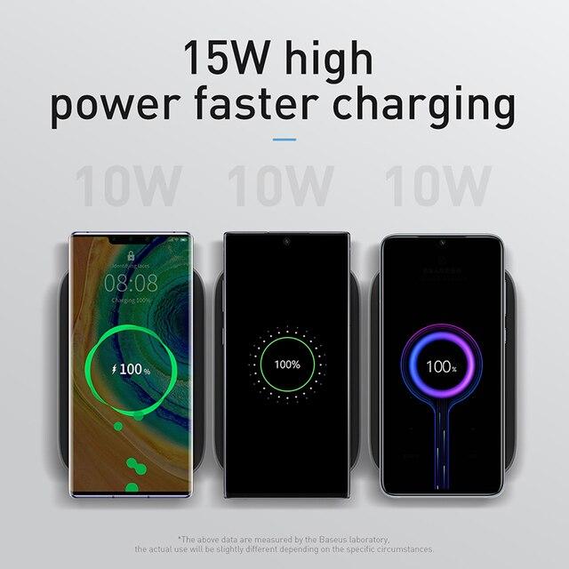 Baseus 15w qi carregador sem fio suporte qi carga rápida suporte do telefone multifuncional almofada de carregamento sem fio para iphone 11 pro samsung 2