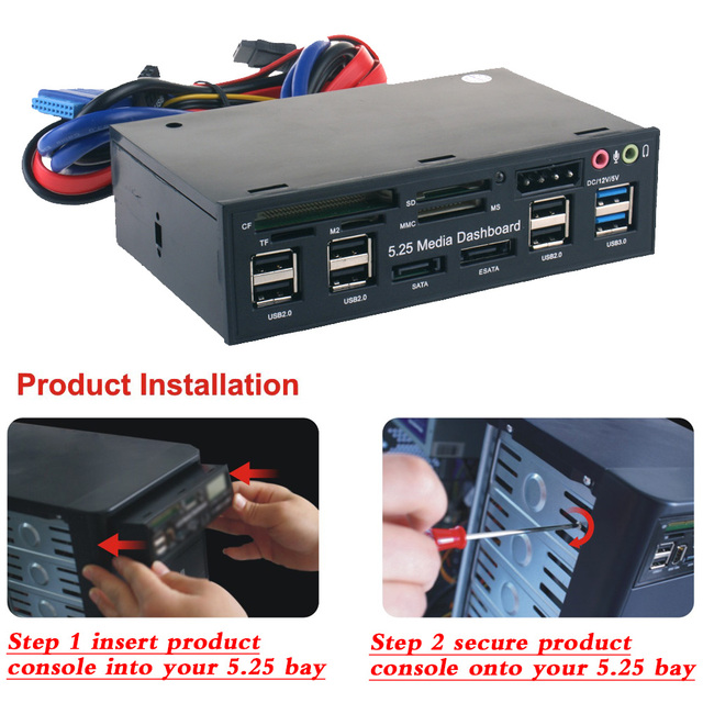 Multi-Function USB 3.0 Hub eSATA SATA Port Internal Card Reader PC Dashboard Media Front Panel Audio for SD MS CF TF M2 6