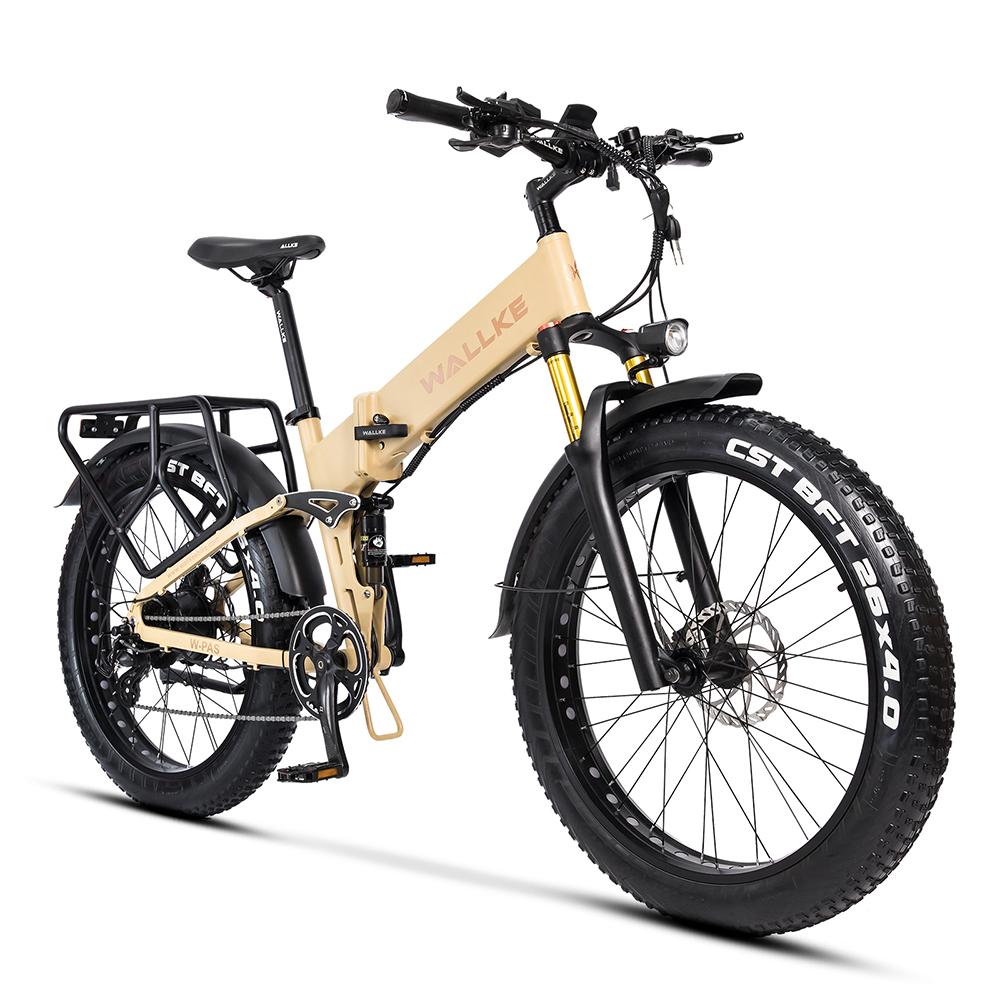 W Wallke X3 Pro Electric Bike Foldable Ebike 750W 26 inch Electric Mountain Bike, 26MPH Adults Bike Electric, Removable 48V Lith