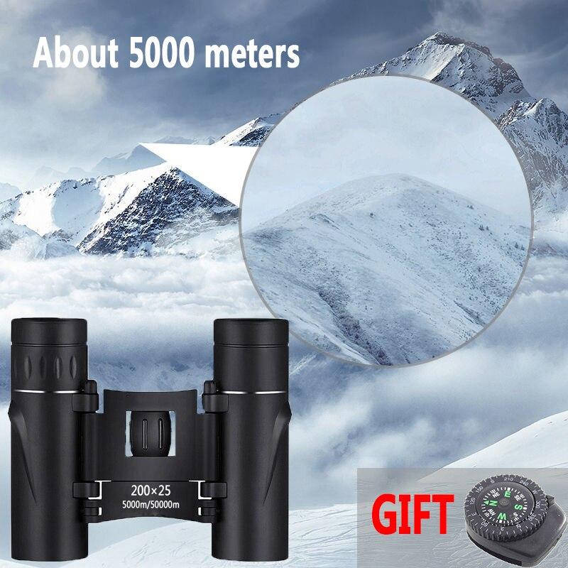 Mini binoculares portátiles con Zoom HD 50000M, prismáticos con telescopio potente 200x25, óptico plegable BAK4, visión nocturna de baja luz