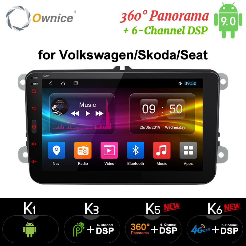 Ownice Android 9.0 main libre bluetooth universel 2 Din K3 K5 K6 autoradio GPS pour Volkswagen/Skoda/siège