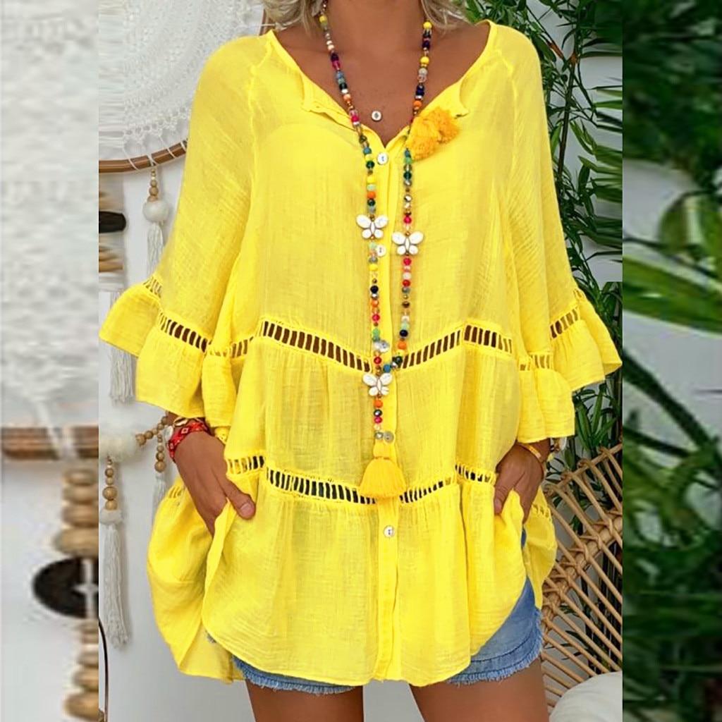 Feitong – Blusa holgada de algodón con manga a tres cuartos, Camisa de vestir color liso para mujer, cuello en V, talla grande, 2019