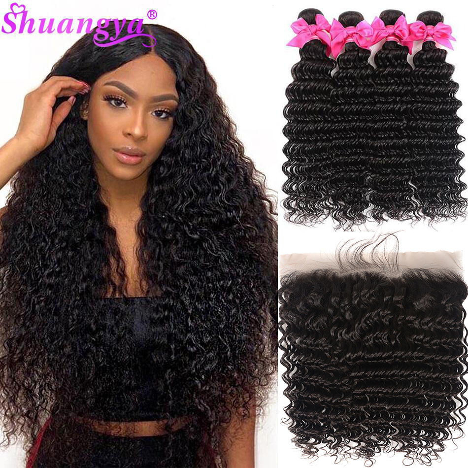 Brazilian Deep Wave Bundles With Frontal 100% Human Hair 3/4 Bundles With Frontal Remy Frontal With Bundles Shuangya Hair
