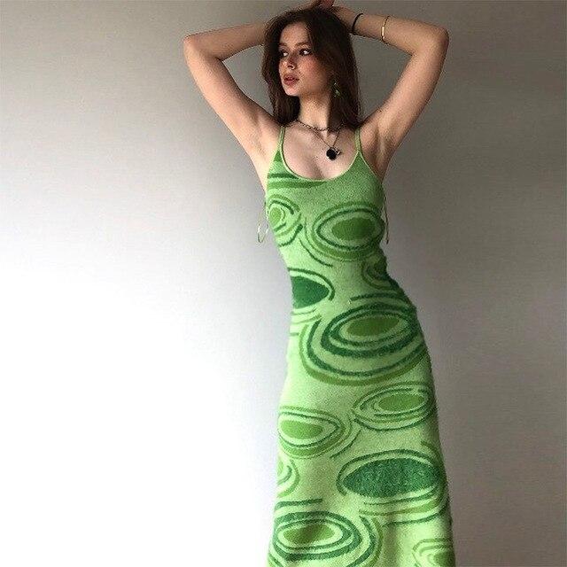 Sexy Dress Women Y2K Green Print Knit Bodycon Sleeveless Spaghetti Strap Beach Party Midi Summer Dress 2021 Robe Femme Vestidos 2