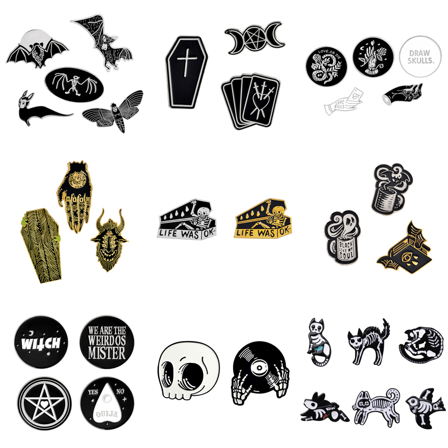 1-6pcs/set Punk Dark Brooch Collection Enamel Pins Skull Bat Witch Skeleton Coffin Pin Button Metal Badge Halloween Gift Jewelry 1