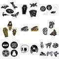 1-6 шт./компл. Коллекционная эмалированная брошь в стиле панк с изображением черепа летучей мыши ведьмы скелета гроба