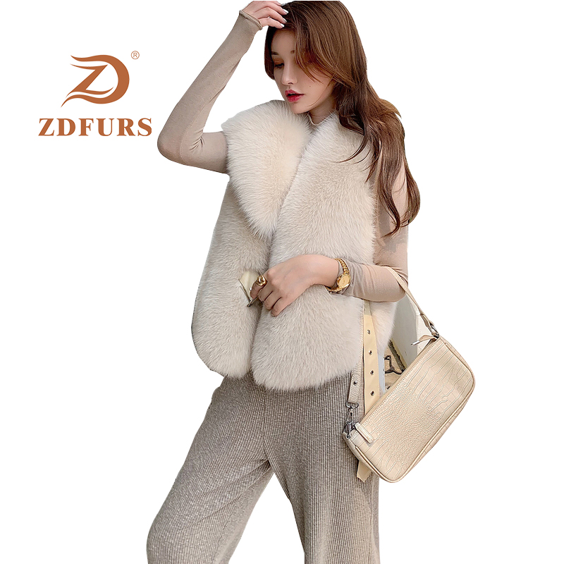 Image 2 - ZDFURS*New Arrival Natural Fur Waistcoat Plus Size Contrast Color Fashion Irregular Full Pelt Fox Fur Vest WomanReal Fur   -