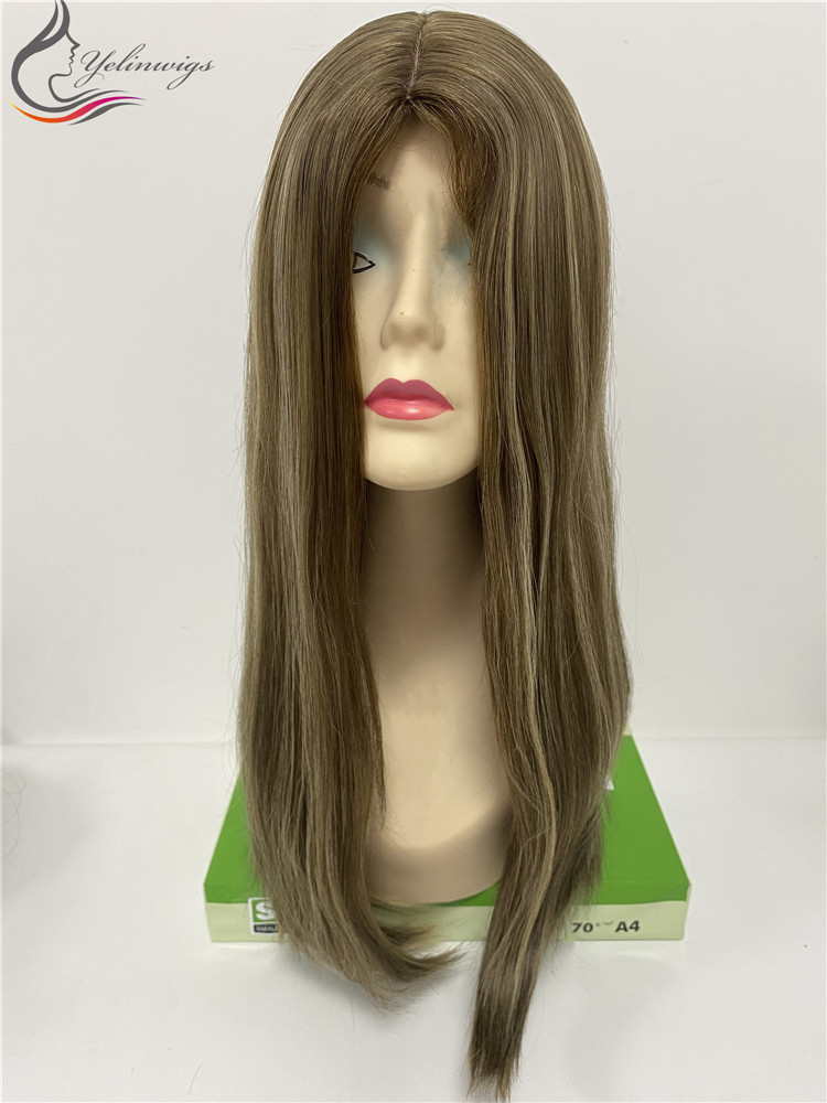 Fashion Highlight Color 22 Inch Length Silk Top Jewish Kosher Wig Top Human Hair Wigs For White Women